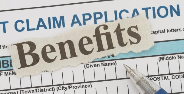 Image of the word benefits on a claim form