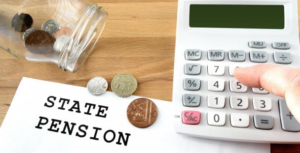 State pension calculator and jar of coins