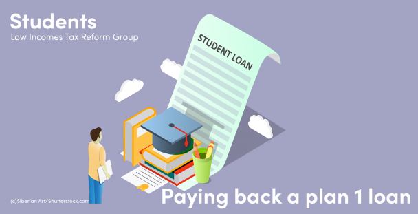 Illustration of a student in front of a graduation cap and a student loan document