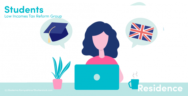 Illustration of a student with a graduation hat and Union Jack flag