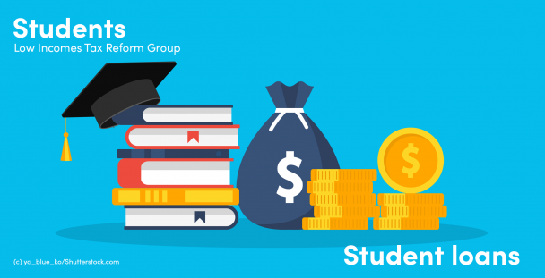 Illustration of books, mortar board and coins