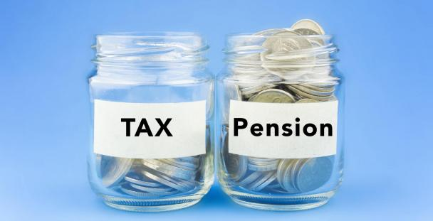 Two jars of coins, one labelled tax, one labelled pension