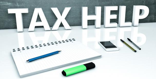 Image of the words tax help with office stationery