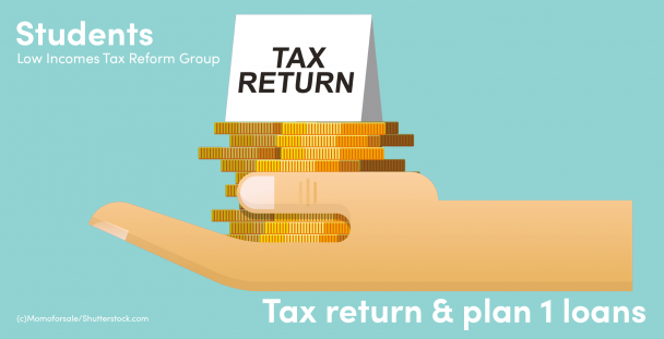 Illustration of a hand holding coins and a tax return sign