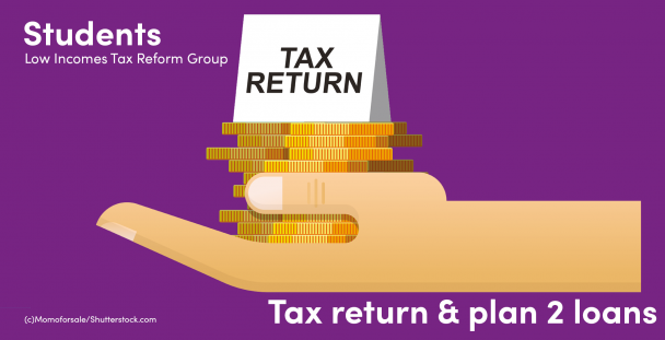 Illustration of a hand holding coins and a note saying tax return