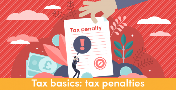 Illustration of a person cowering under a tax penalty notice