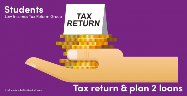 Illustration of a hand holding a tax return note and a pile of coins