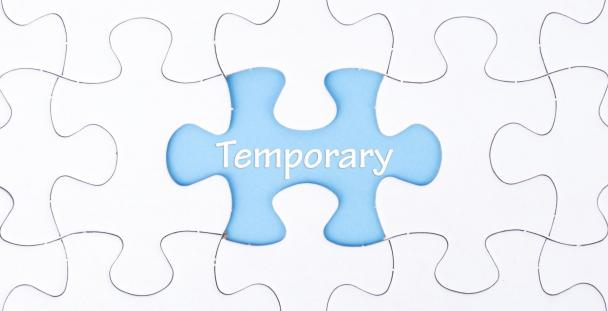 Temporary written on a jigsaw piece to represent temporary workers and job retention scheme (c) Shutterstock / JeJai Images