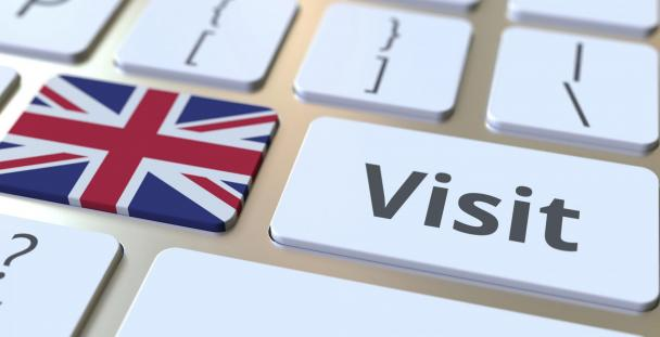 Image of a Union Jack and the word visit on keyboard buttons