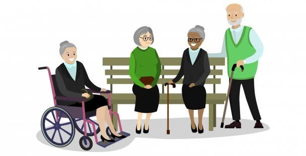 Illustration of pensioners meeting around a bench