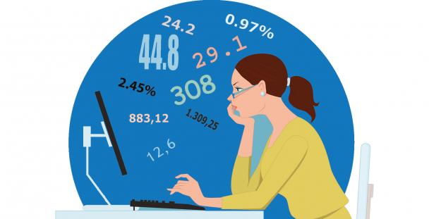 Illustration of a woman at a computer surrounded by numbers