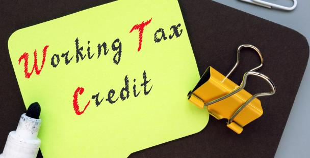 Image of the words working tax credit on a sticky note