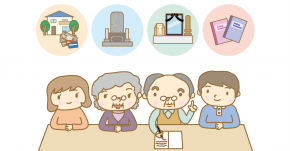 Illustration of a family working out bereavement document