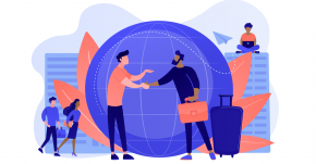 Illustration of people standing around and in front of a globe