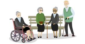 Illustration of elderly people