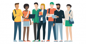 Illustration of a group of students standing in a row