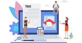 Illustration of people around a laptop and a tax document