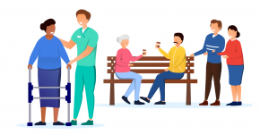 Illustration of people and carers