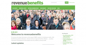 Screenshot of the revenuebenefits home page