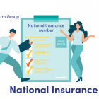 Illustration of man and a woman by a clipboard with the words National Insurance number and social security written on it