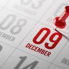 Image of a calendar showing 9 December