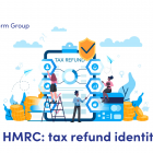 Illustration of people around a clipboard with the words tax refund
