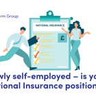 Illustration of a man and woman next to a clipboard about National Insurance