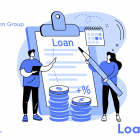 Illustration of people in front of a loan form