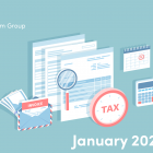Illustration of tax documents, calculator and calendar