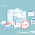 Illustration of tax documents, calculator and calendar