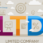 Illustration of the words limited company and business symbols
