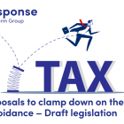 Illustration of a man jumping over the word tax