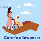 Illustration of a woman pushing an elderly lady in a wheelchair