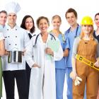Group of industrial workers in employment