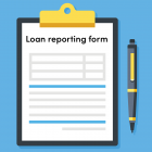 Image of a clipboard with a loan reporting form attached and a pen next to it
