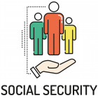 Illustration of a hand holding up icons of people with the words social security underneath