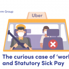 Illustration of a taxi driver wearing a face mask and a passenger