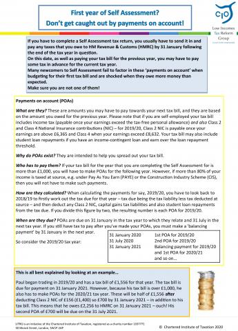 LITRG factsheet payment on account self assessment