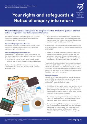 LITRG-factsheet-HMRC-rights-and-safeguards-notice-of-enquiry-into-return-2020-cover