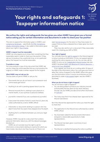 LITRG Factsheet taxpayer information cover