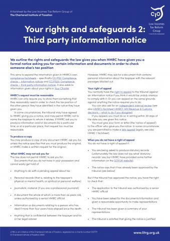 LITRG factsheet third party information cover