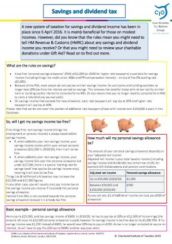 Savings and dividend tax factsheet